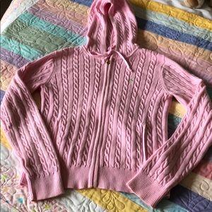 Lily Pulitzer - pink cable knit sweater hoodie